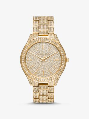 Michael Kors Slim Runway Pave Gold-Tone Watch,GOLD