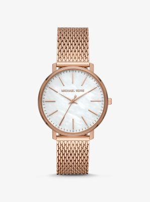 Michael Kors Pyper Rose Gold-Tone Mesh and Pearl Watch,ROSE GOLD