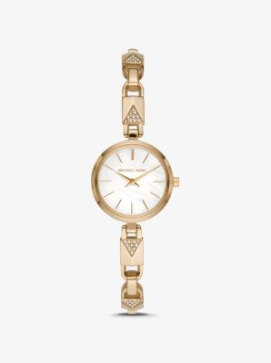 Michael Kors Jaryn Gold-Tone Padlock Bracelet Watch,GOLD