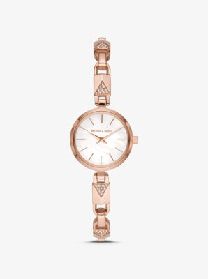 Michael Kors Jaryn Rose Gold-Tone Padlock Bracelet Watch,ROSE GOLD