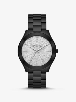 Michael Kors Slim Runway Pave Black-Tone Watch,BLACK