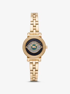 Michael Kors Petite Sofie Gold-Tone Evil Eye Watch,GOLD