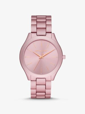 Michael Kors Oversized Slim Runway Pink-Tone Aluminum Watch,PINK