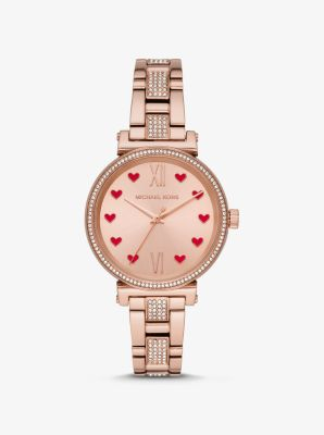 Michael Kors Sofie Pave Rose Gold-Tone Watch,ROSE GOLD