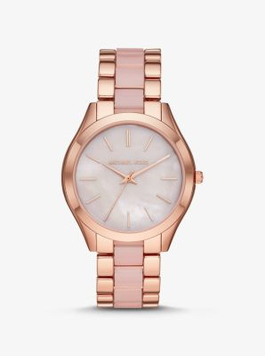 Michael Kors Oversized Slim Runway Rose Gold-Tone and Acetate Watch,ROSE GOLD