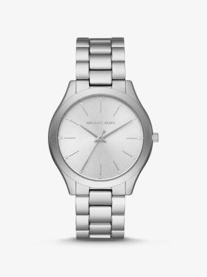 Michael Kors Slim Runway Silver-Tone Aluminum Watch,SILVER