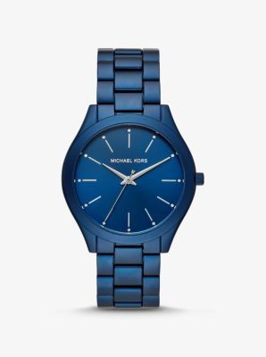Michael Kors Slim Runway Blue-Tone Aluminum Watch,NAVY