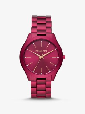 Michael Kors Slim Runway Berry-Tone Aluminum Watch,CRANBERRY