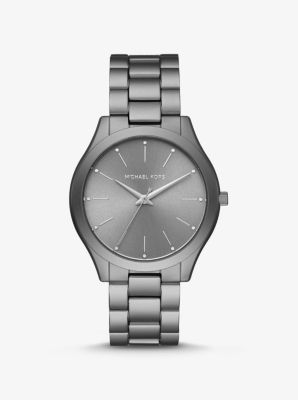Michael Kors Slim Runway Grey-Tone Aluminum Watch,GUNMETAL