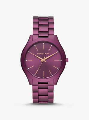 Michael Kors Slim Runway Plum-Tone Aluminum Watch,PLUM