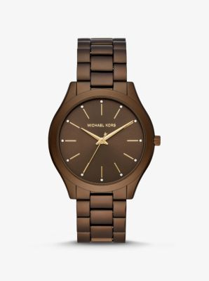 Michael Kors Slim Runway Brown-Tone Aluminum Watch,CHOCOLATE