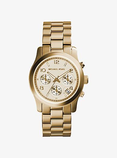 Runway Gold-Tone Chronograph Watch by Michael Kors