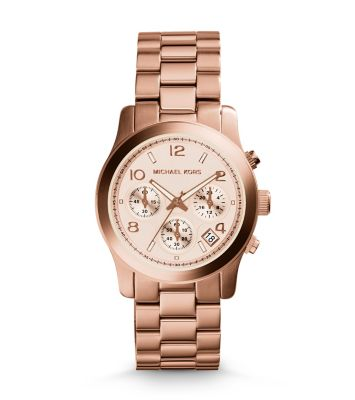 rose gold tone stainless steel chronograph runway watch. Black Bedroom Furniture Sets. Home Design Ideas