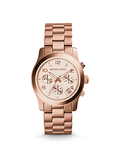Rose Gold-Tone Stainless Steel Chronograph Runway Watch by Michael Kors