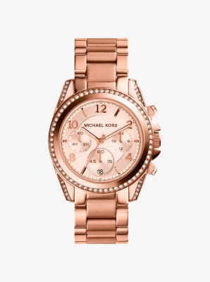Blair Rose Gold-Tone Stainless Steel Chronograph Watch by Michael Kors