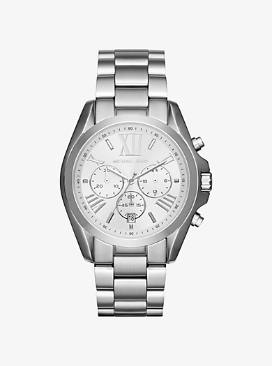 Oversize Bradshaw Silver-Tone Watch by Michael Kors