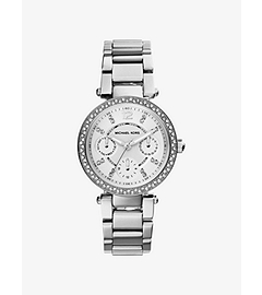Mini Parker Pavé-Embellished Silver-Tone Stainless Steel Watch