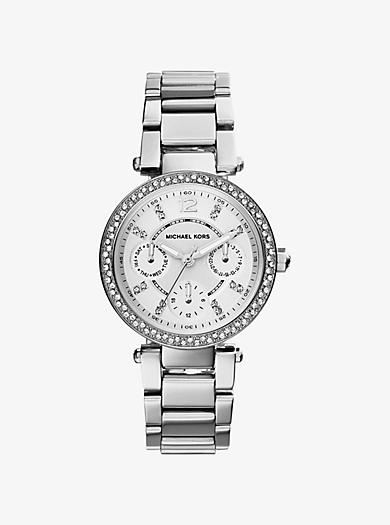 Parker Pavé Silver-Tone Watch by Michael Kors