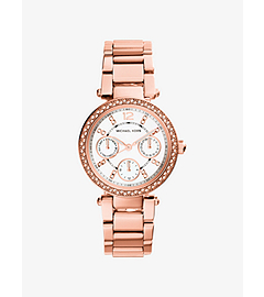 Mini Parker Pavé-Embellished Rose Gold-Tone Stainless Steel Watch
