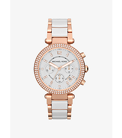 Parker Rose Gold-Tone Stainless Steel and White Acetate Watch