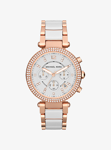Parker Rose Gold-Tone White Acetate Watch by Michael Kors