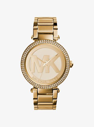 Parker Pavé Gold-Tone Watch by Michael Kors