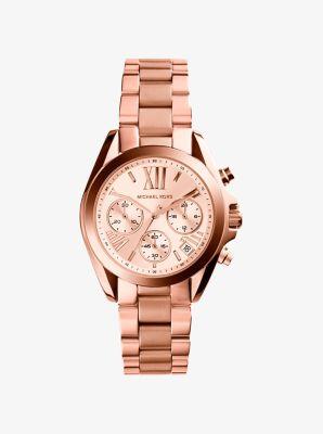마이클 코어스 메탈 시계 Michael Kors Mini Bradshaw Rose Gold-Tone Stainless Steel Watch,ROSE GOLD