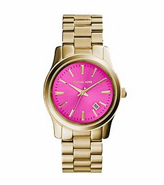 Runway Pink-Dial Gold-Tone Stainless Steel Watch