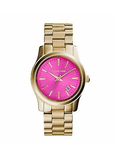 Runway Pink-Dial Gold-Tone Watch by Michael Kors