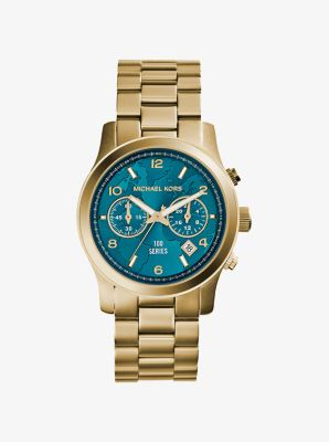 Michael Kors Watch Hunger Stop Runway Gold-Tone Stainless Steel Watch,GOLD