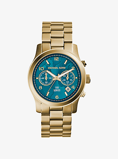 Watch Hunger Stop Runway Gold-Tone Stainless Steel Watch by Michael Kors