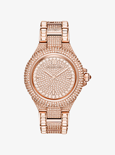 Camille Pavé Rose Gold-Tone Watch by Michael Kors
