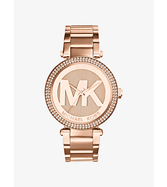 Parker Pavé-Embellished Rose Gold-Tone Watch