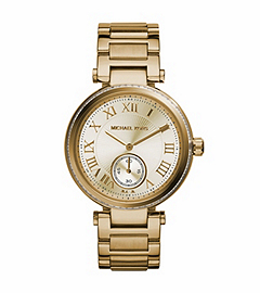 Skylar Pavé-Embellished Gold-Tone Stainless Steel Watch