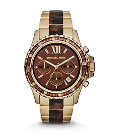 Everest Tortoise Acetate and Gold-Tone Stainless Steel Watch