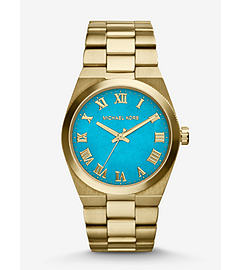 Channing Turquoise and Gold-Tone Stainless Steel Watch