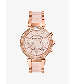 Parker Rose Gold-Tone Stainless Steel and Blush Acetate Watch