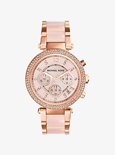 Armbanduhr Parker im Rosé-Goldton mit rosafarbenen Azetatdetails by Michael Kors