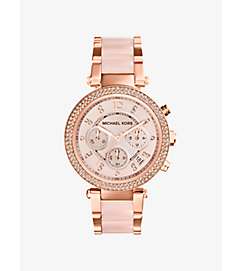 Parker Rose Gold-Tone Blush Acetate Watch by Michael Kors
