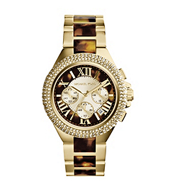 Camille Embellished Tortoise Acetate and Gold-Tone Stainless Steel Watch