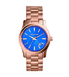 Runway Cobalt-Dial Rose Gold-Tone Stainless Steel Watch