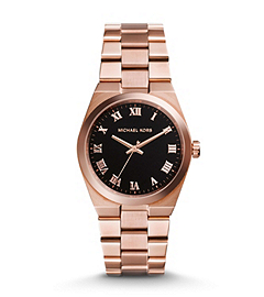 Channing Black and Rose Gold-Tone Stainless Steel Watch