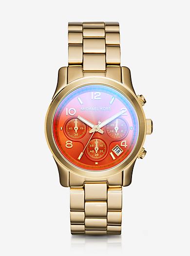 Runway Flash Lens Gold-Tone Watch by Michael Kors