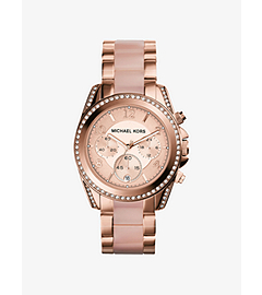 Blair Pavé-Embellished Rose Gold-Tone Stainless Steel Watch