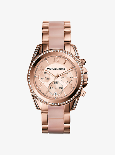 Blair Pavé Rose Gold-Tone Watch by Michael Kors