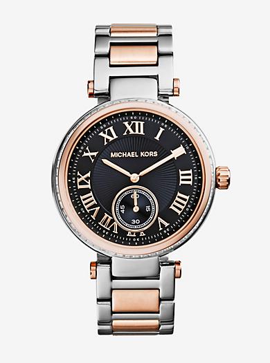 Skylar Silver and Rose Gold-Tone Bracelet Watch by Michael Kors