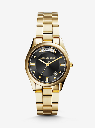 Colette Onyx and Gold-Tone Watch by Michael Kors
