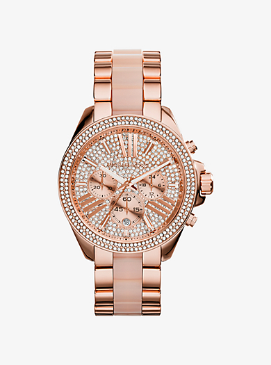 Wren Pavé Acetate and Rose Gold-Tone Watch by Michael Kors