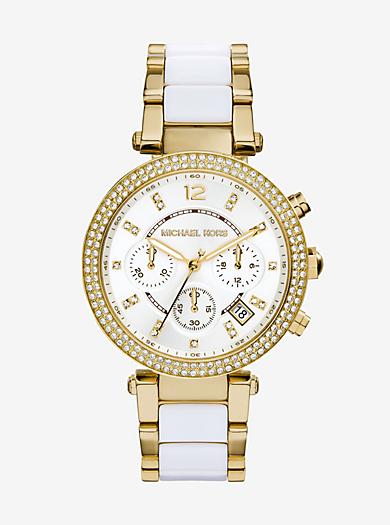 Parker Pavé Gold-Tone Acetate Watch by Michael Kors