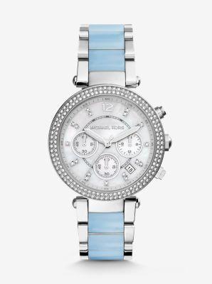 $198.8 MICHAEL KORS  Parker Silver-Tone Acetate Watch